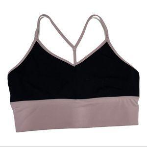 Gaiam Black and Lilac Sports Bra Large